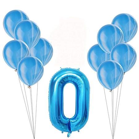 GVJBFC 11Pcs / Set Globo de cumpleaños Azul Rosa Número ...