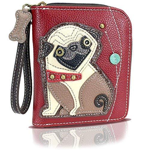 Chala Zip Around Wallet, Wristlet, 8 Credit Card Slots, Sturdy Pu Leather - Pug - Burgundy - Coin Antique Purse