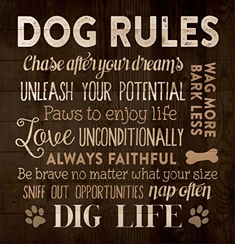P. GRAHAM DUNN Dog Rules Paw Prints 12 x 12 Wood Pallet Design Wall Art Sign Plaque -