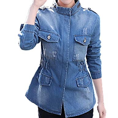 Vovomay Fashion Women Plus Size Long Sleeve Chaqueta Tops Stand Collar Pockets Solid Jean Coat (