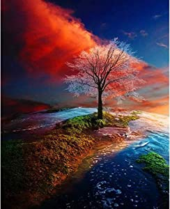 Z-Home DIY 5D Color Tree Diamond Painting Set Kits for Adults Kids 30x40cm Full Drill Arts Craft Canvas Cross Stitch Embroidery Mosaic Kit for Home Wall Deco