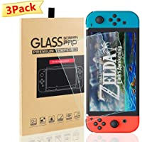 Switch Screen Protector for Nintendo Switch Tempered Glass 3 Pack Screen Saver Protector Film with Transparent HD Clear…