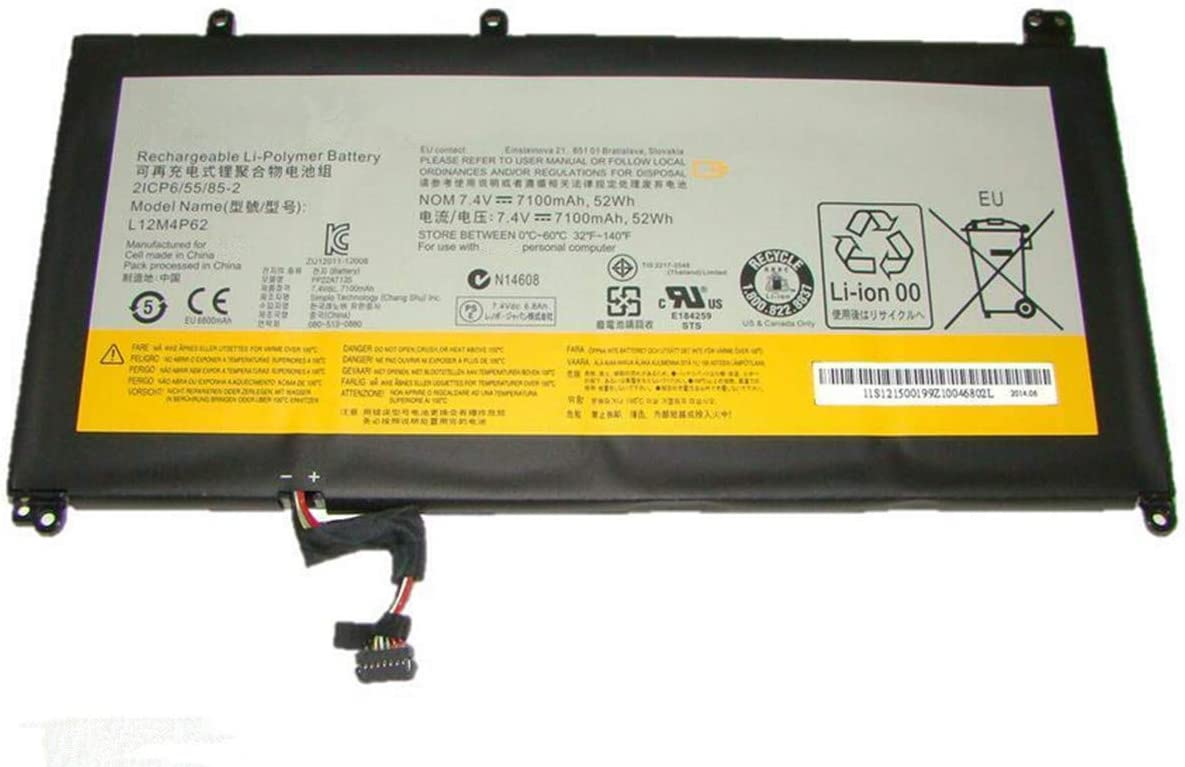 HWW New 7.4V 52Wh 7100mAh L12M4P62 Battery Replacement for Lenovo Ideapad U430 U530 Touch L12L4P62 2ICP6/55/85-2 Series