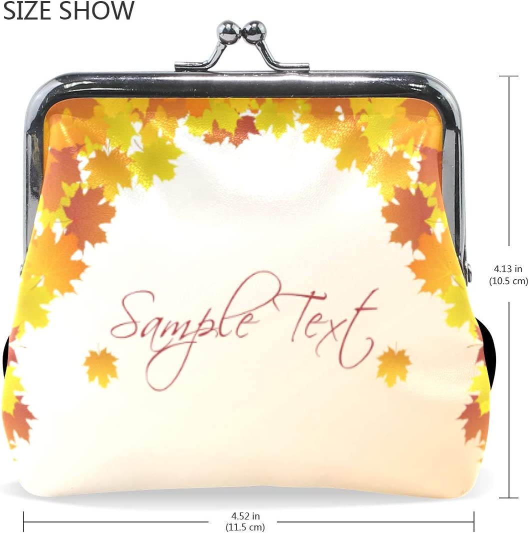 TIKISMILE Autumn Background Leather Fashion Buckle Cute Coin Purse Bags Clutch Pouch Wallet
