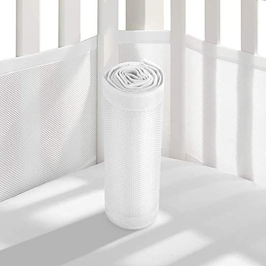Baby Crib Bumper - Breathable Mesh Crib Liner Anti-Collision Bed Bumper for Full-Size 4 Sides Slatted & Solid
