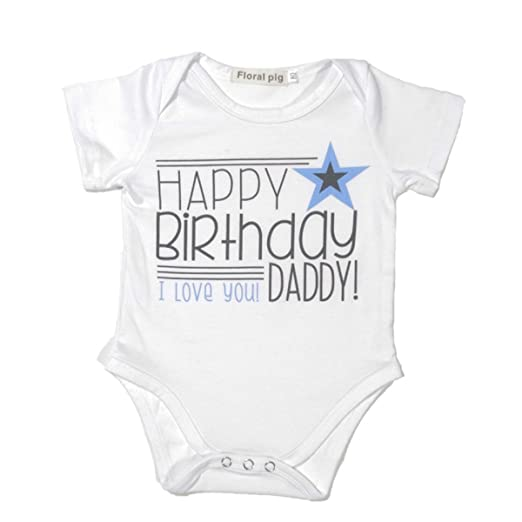 Winzik Newborn Infant Baby Boys Girls Outfits Happy Birthday Daddy Letters Print Romper Jumpsuit Clothes T Shirt