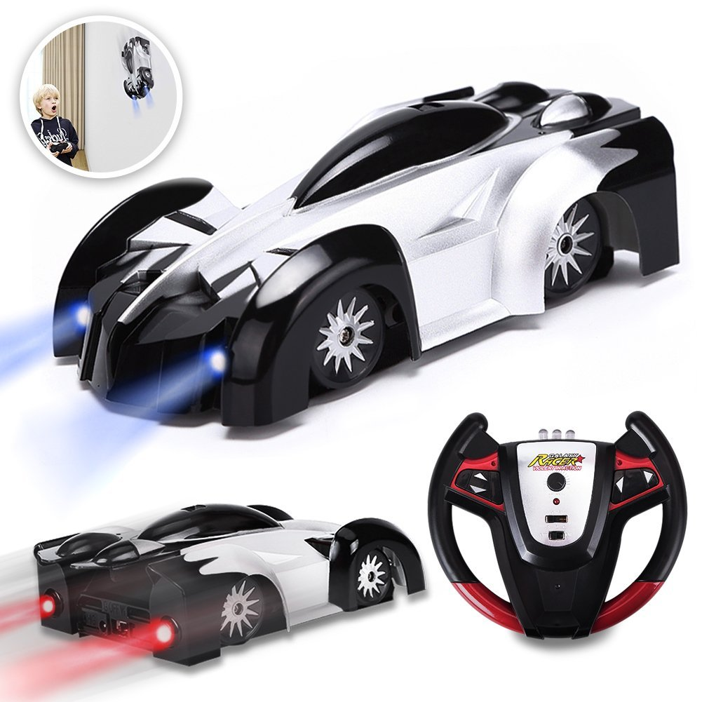KKONES Remote Control Car Kids Toys for Boys Girls,Head and Rear with Powerful LED Light,360°Rotating Stunt Wall Climbing Car with Remote Control, Intelligent Glowing USB Cable Girl and Boy Gifts