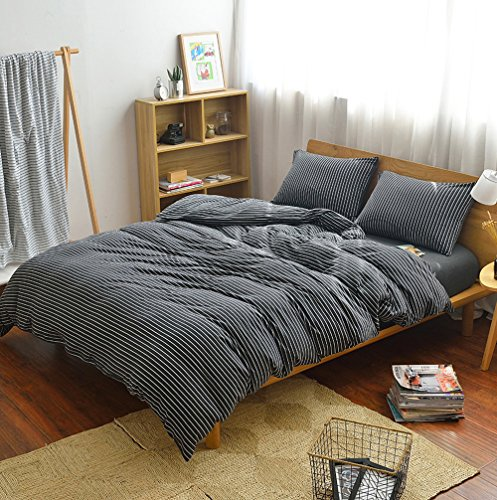 DOUH 3 Piece Duvet Cover Set Jersey Knit Cotton Home Bedding Sets Striped Comforter Cover with Pillow Shams Ultra Soft Comfy Black White Queen Size