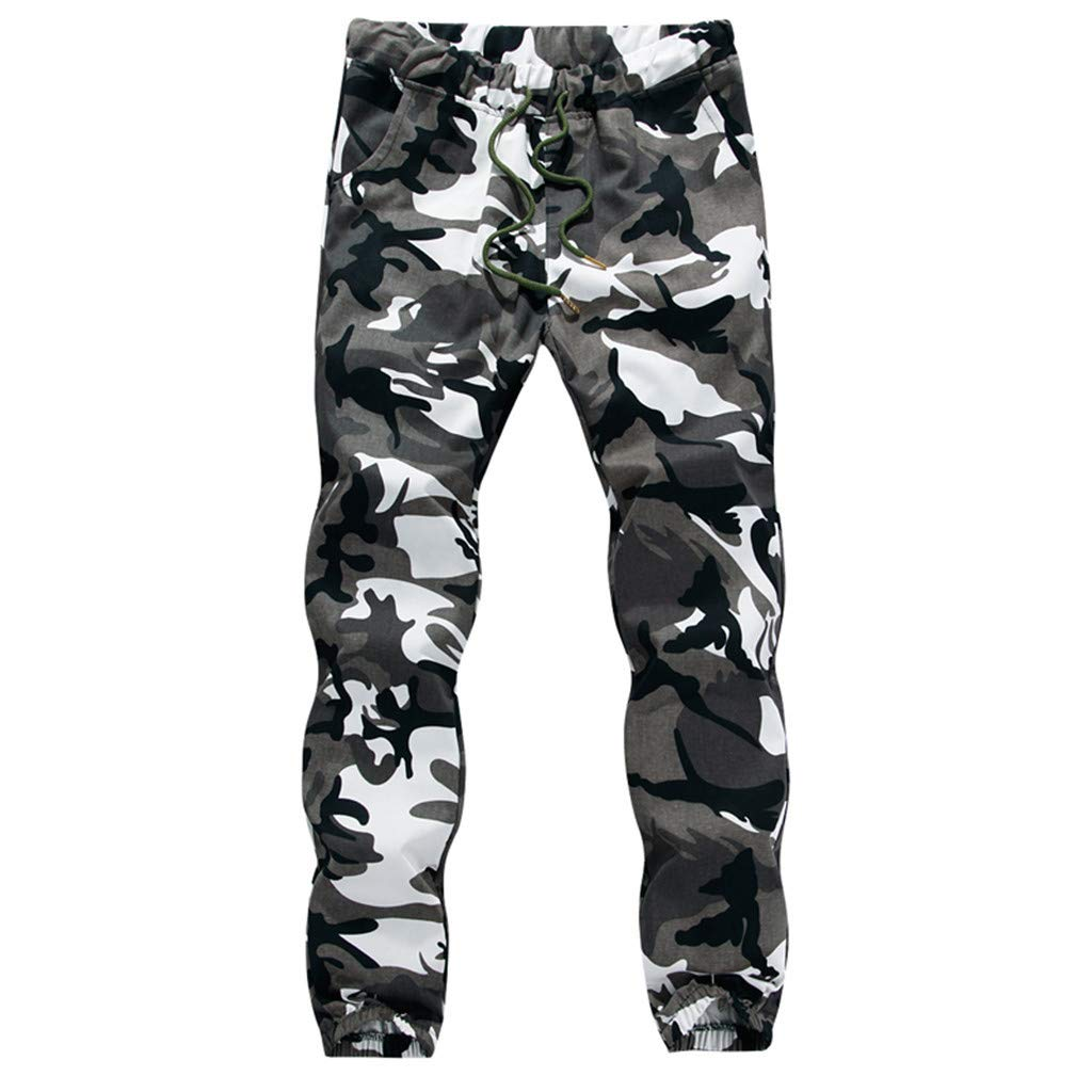 Vicbovo Clearance Men Camo Athletic Elastic Drawstring Waist Sweatpants Trouser Joggers Cargo Pants with Pocket (White, XXXL) by Vicbovo Clearance