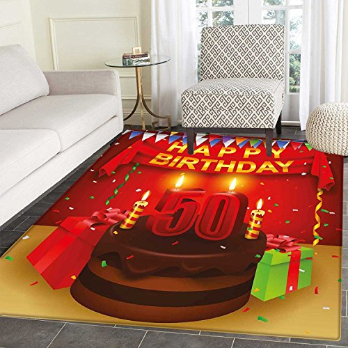 50th Birthday Area Rug Carpet Chocolate Cake with Number Can