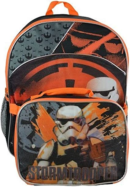STAR WARS FORCE AWAKENS BACKPACK /& LUNCH BOX SET STORMTROOPER ATTACHED BAG 16/""
