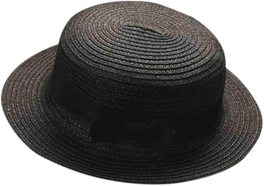 Madre Y Yo Bebé Bowknot Niños Sombrero Transpirable Sombrero De Paja Sombrero De Niños Sombrero De Niñas AIMEE7 Sombrero De Sol para Padres E Hijos (Padres, Negro)