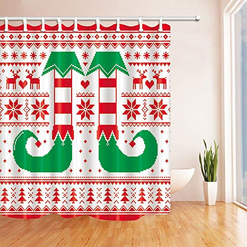 Rrfwq Knitting Pattern Christmas Tree Shower Curtains for Bath Polyester Fabric Waterproof Bath Hooks70.8 X 70.8 inches