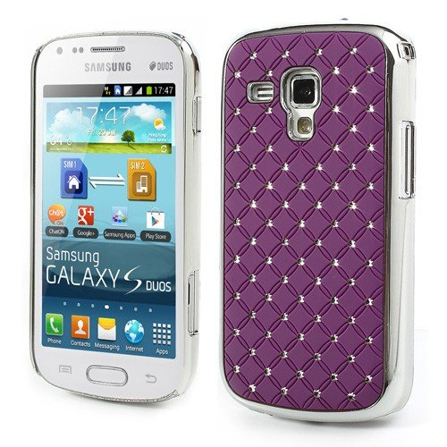 JUJEO Fish Scale Rhinestone Hard Protective Case for Samsung Galaxy S Duos S7562 S7560 S7560M - Non-Retail Packaging - Purple