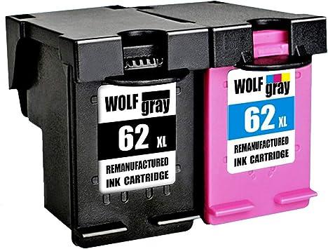 Wolfgray 62XL Remanufacturado para HP 62 XL 62 Cartuchos de Tinta (1 Negro, 1 Tricolor) para HP Envy 5640 5540 7640 5544 5546 5646 5542, HP OfficeJet 5740 5742 200: Amazon.es: Electrónica