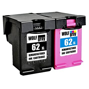 Wolfgray 62XL Remanufacturado para HP 62 XL 62 Cartuchos de Tinta (1 Negro, 1 Tricolor) para HP Envy 5640 5540 7640 5544 5546 5646 5542, HP OfficeJet ...