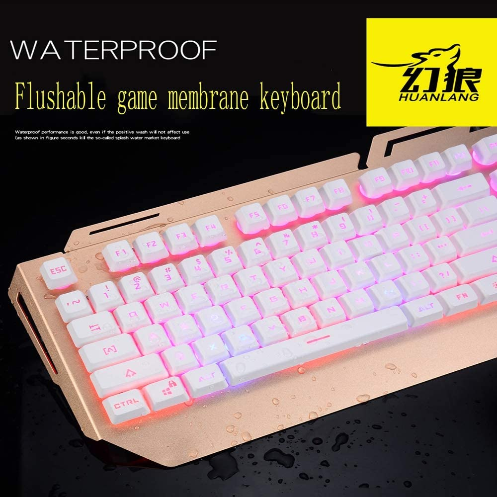 USB Interface Support Backlight Golden Keyboard Aluminum Alloy Panel Splash-Proof Mechanical Hand Ergonomic Keyboard HKJCC JY300 Metal Wired Mechanical Keyboard