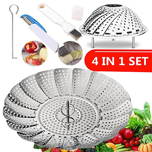 "Vegetable Steamer Basket, ihoven 5.5"" Expands to 9.3""- Stainless Steel Veggie Steamer with (Safety Hook--Julienne Peeler--Slicer) - Fits Instant Pot Steam Food Insert (Silver)"