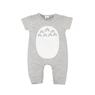 Bebone Mameluco Pelele Bebé Niños Niñas Pijama de Rompers (Manga Corto ,Gris,12
