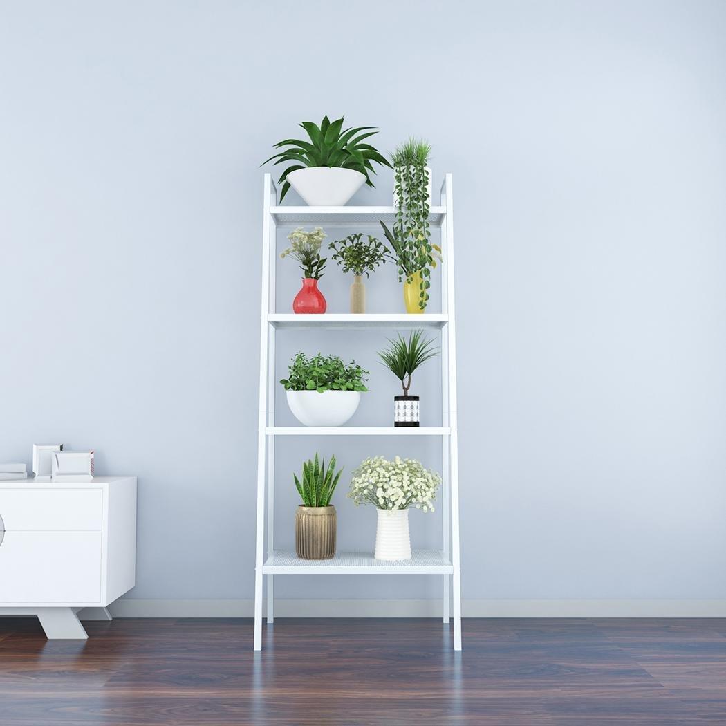 Amazon.com: Dtemple 4 Tier Leaning Ladder Shelf Metal Book Shelf ...