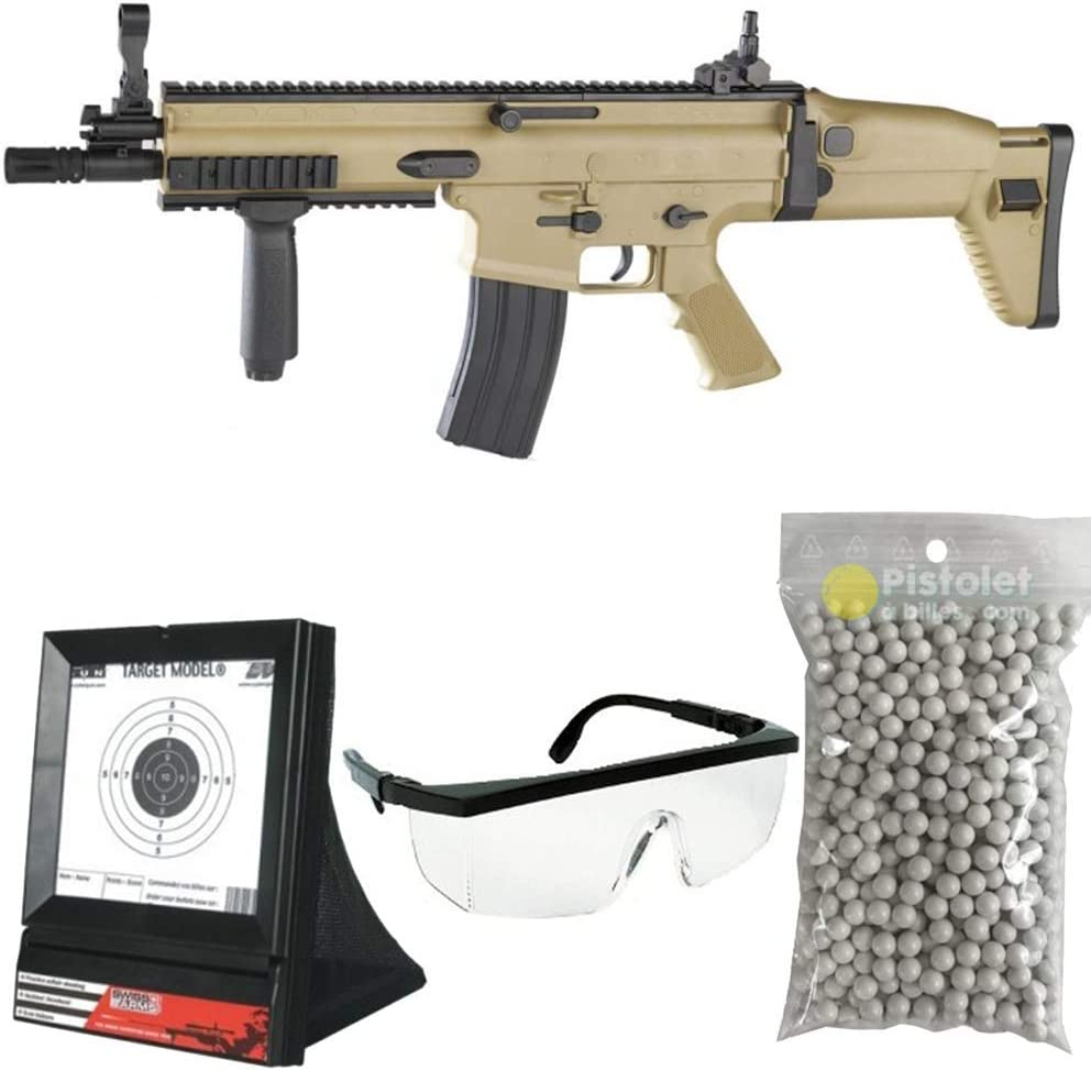 PC Airsoft Paquete Completo con Accesorios - Arma para Airsoft, Modelo Fn Scar L, con Resorte, 0,5 Julios, Color Desierto, Recarga Manual