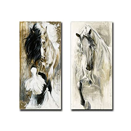 2pcs Set Modern Canvas Art Animal Elegant Brown White Horse Oil Painting Print On Canvas Poster Picture Wall Art Picture For Living Room Decoration