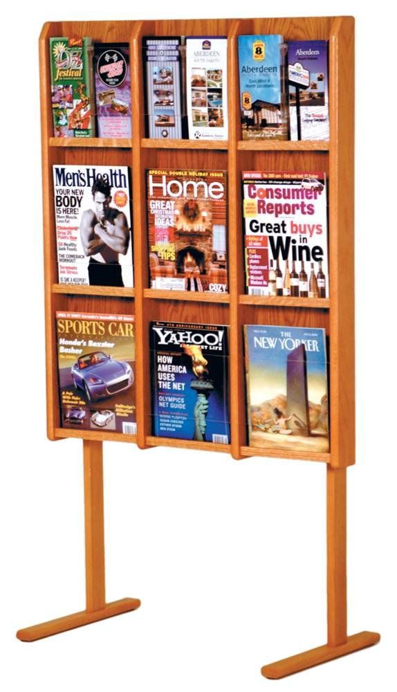 Wooden Mallet Divulge 9 Magazine/18 Brochure Floor Display w/Brochure Inserts 9, Medium Oak