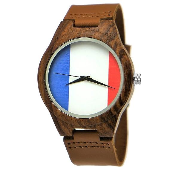 Hecha a mano de madera de Alemania® Designer Hombre Francia Bandera Reloj mujer RELOJ Certificado