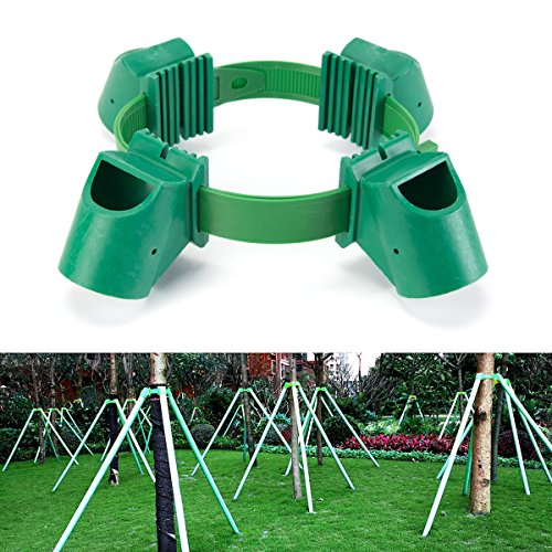 Jerboll Plastic Tree Stakes kit Include Tree tie,Goblet for Tree Support (4 Cups Green)