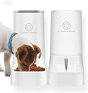 Pet Food Feeder and Water Feeder Self-Dispensing Gravity Automatic Dispenser Bundle Station Device Set for Middle Small Cats Dogs