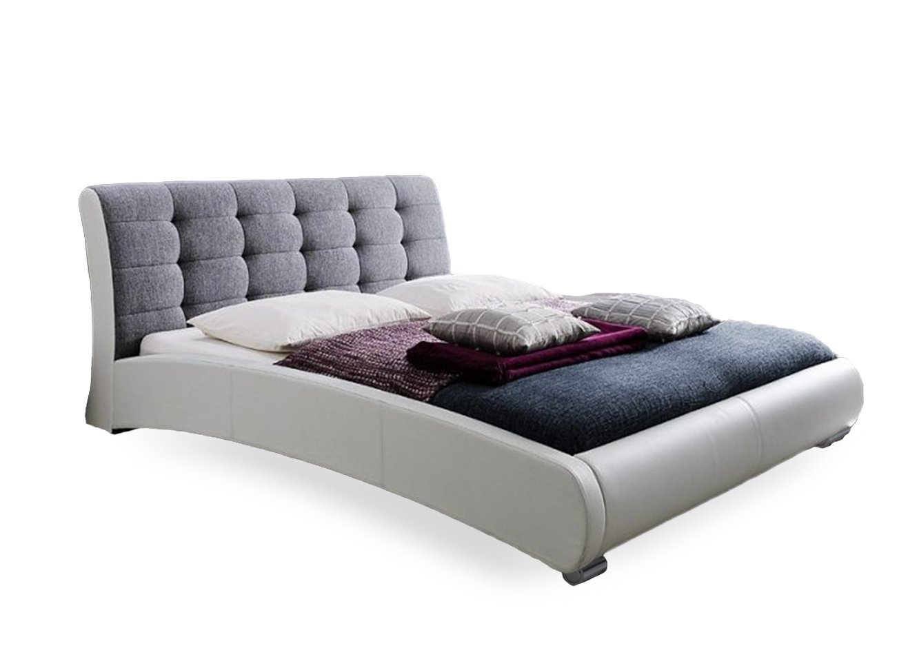 amazoncom baxton studio guerin white faux leather fabric two tone upholstered grid tufted platform bed queen grey kitchen u0026 dining