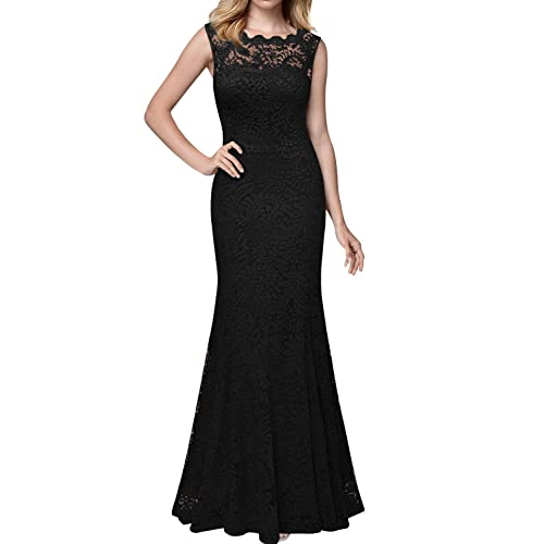 MIUSOL Womens Full Lace Backless Long Fishtail Evening Dress