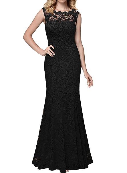 Miusol Elegante Encaje Fiesta Vestido Largos para Mujer Negro Small