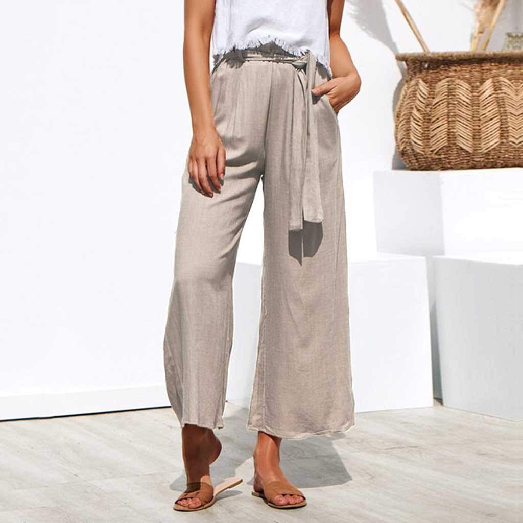 Pervobs Women Solid Casual Drawstring Belt High Waisted Loose Pockets Wide Leg Pants Yoga Trousers(XL, Beige) by Pervobs Women Pants (Image #2)