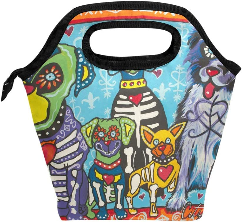 IMOBABY Mexican Sugar Skull And Watercolor Dog Reusable Lunch Bag Handbag Lunchbox Food Container Gourmet Waterproof Neoprene Insulated Lunch Tote for Outdoor Travel Picnic
