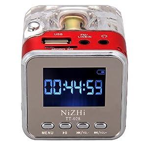 Digital Radio, soled Portable MP3 Music Player, Mini FM Radio, Micro SD TF USB Disk Speaker with Digital Display Screen Red