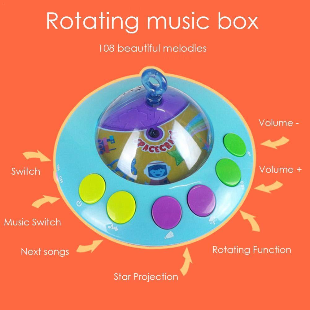 Krippe Mobiles Musikspielzeug,Crib Music Mover mit Lichtern und Musik H/ängender Rassel und Remote Music Box zur Fernbedienung Der Drehbaren Ponyform