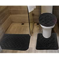 All American Collection 3PC Memory Foam Bath Mats Soft Plush Crown Design Anti-Slip Shower Bathroom Contour Toilet Lid…