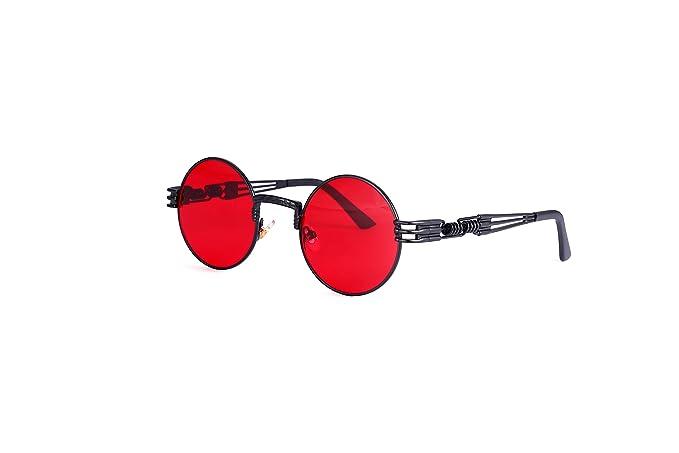 523102146a6 Amazon.com  Polarized Steampunk Sunglasses for Men Women John Lennon Style  Metal Spring Frame Round Hua Ju Sun Glasses (Black Frame Non Polaried Red  Lens