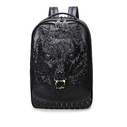 844cf90bf0e1 Amazon.com: Znds Personalized 3D Wolf Laptop Backpack, Unisex PU ...