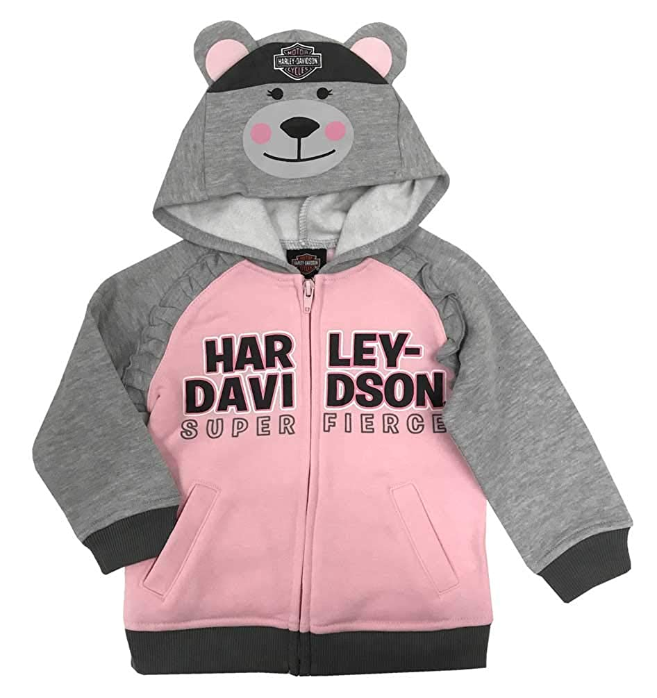 HARLEY-DAVIDSON Baby Girls Bear Hood Fleece Infant Hoodie Gray /& Pink 6514915