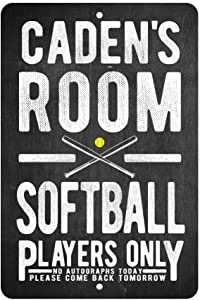 Personalized Softball Players Only - No Autographs Metal Room Sign - Aluminum Softball Wall Decor