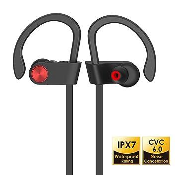 Auriculares Bluetooth 4.1 Inalambricos, IPX7 Cascos Impermeables con Microfono, Cancelación de Ruido CVC6.