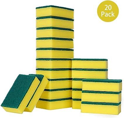 CUWMOC® 20 Pack de Esponjas de Catering Resistentes/Esponja de Doble Cara Multiusos, estropajos para cocinas, baños y Limpieza Resistente, Cepillo de Limpieza para Cocina, Garaje, baño: Amazon.es: Coche y moto