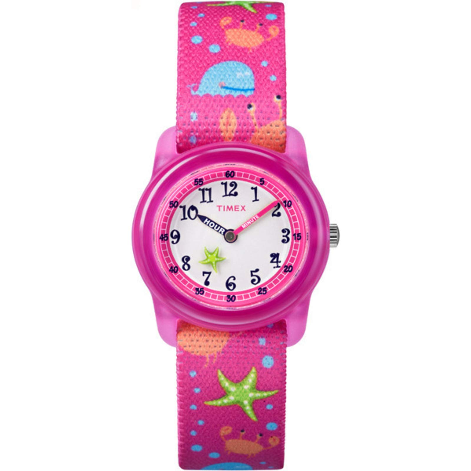 Timex Youth Kids Analog 28mm Elastic Fabric Strap |Pink| Watch TW7C13600 by Timex