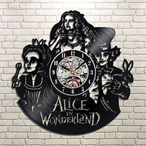 La Bella Casa Alice in Wonderland Vinyl Wall Clock for Adults Youth Kids Housewarming Present