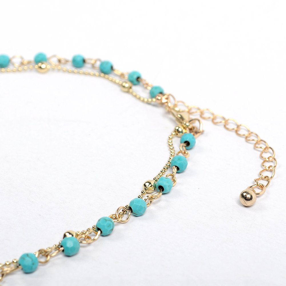Artilady layer opal choker necklace for women ¡­ (GOLD TURQUOISE) by Artilady (Image #4)