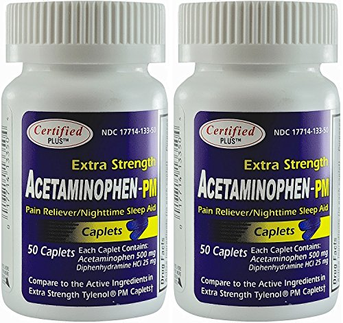 (Acetaminophen PM Extra Strength Pain Reliever, Fever Reducer, Antihistamine & Sleep Aid Generic for Tylenol PM 100 Caplets)