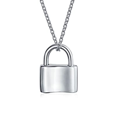 ab13c21952 Amazon.com: Functional Lock Pendant Charm Polished 925 Sterling Silver  Engravable Necklace For Women Chain 16 Inches: Jewelry