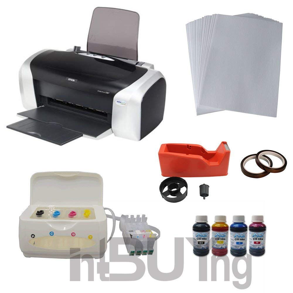 Intbuying Printer CISS System 4bottles Sublimation Ink A4 Paper Heat Tape Package for Mug Transfer